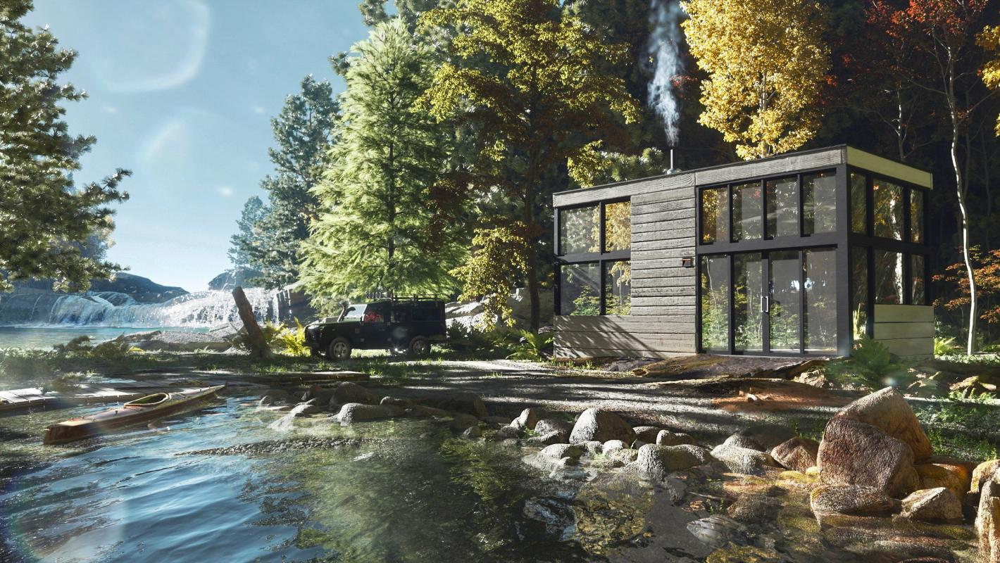 Sitka Wilderness Cabin on the Lake. Modern Prefab with rustic weathered planks.